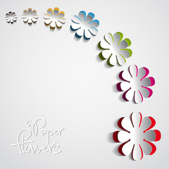 Colorful Paper flowers on white background - vector
