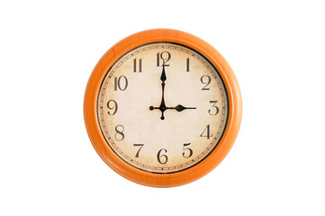 Clock showing 3 o'clock pm on a white wall