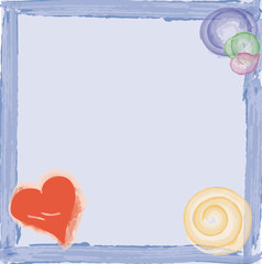 Frame with heart, watercolour