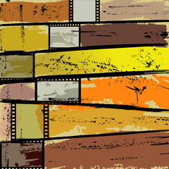 abstract background with paint strokes, splashes and film strips