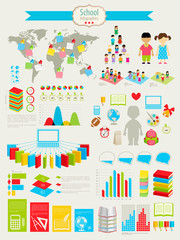 Wall Mural - Back to school Infographic set with charts and other elements.