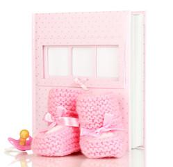 Baby photo album isolated on white