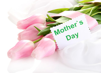 Beautiful bouquet of pink tulips for Mother's Day, isolated
