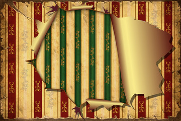 Fond de hotte en verre imprimé Affiche vintage 3D Aufgerissene Tapete - Tapete auf Tapete