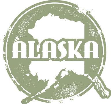 Vintage Alaska USA State Stamp