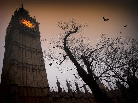 Spooky Big Ben with bats