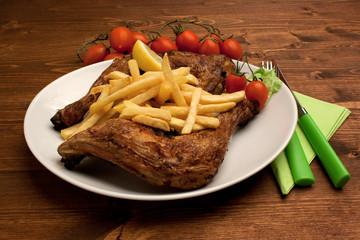 Pollo e patatine fritte