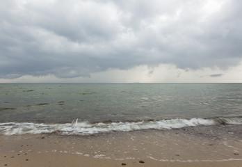 Baltic ocean a cloudy rainy day, Ekerum, Sweden