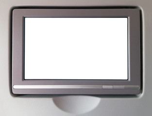 White LCD screen in an airplane
