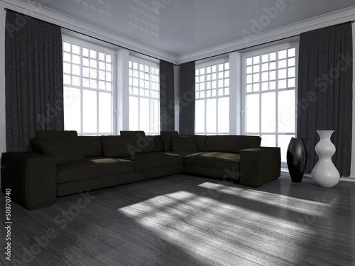"""Wohndesign - Wohnzimmer in schwarz weiß"""" Stockfotos und ..."""