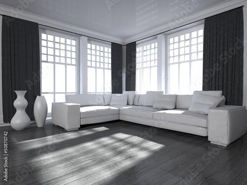 Wohndesign - Wohnzimmer in schwarz weiß\