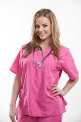 Friendly attractive blond caucasian nurse in her twenties
