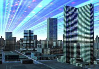 Modern City Skyline - Computer Artwork