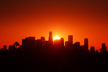 Klistermärke - Los Angeles city skyline sunrise