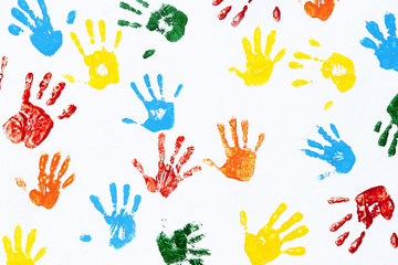 Prints of hands of child