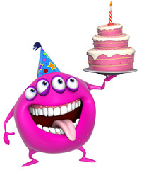 3d cartoon pink birthday monster with cake