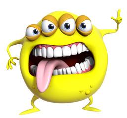 Photo sur Plexiglas Doux monstres 3d cartoon yellow monster