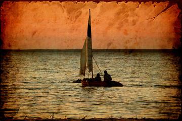 Fond de hotte en verre imprimé Affiche vintage Retroplakat - Segelboot