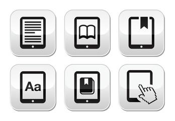 E-book reader, e-reader vector buttons set