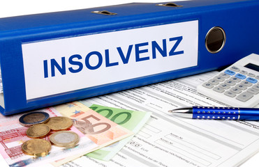 Insolvenz Ordner mit Geld und Taschenrechner