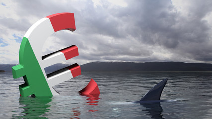 Euro symbol with Italy flag sinking in the water
