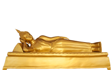 Reclining Buddha statue isolated on white background.