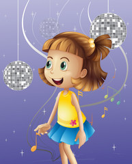 A girl looking at the disco balls