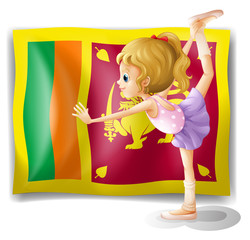 The flag of Sri Lanka and the gymnast