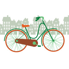 vector illustration of a bicycle in the city