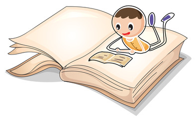 A book with an image of a boy reading