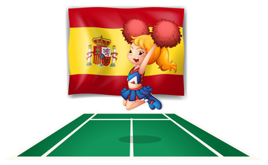 The flag of Spain and the cheerdancer