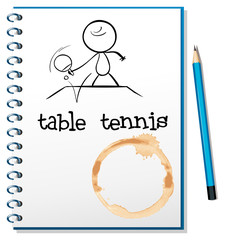 A notebook with a sketch of a person playing table tennis
