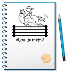 A notebook with a sketch of a boy riding a horse