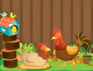 Papiers peints Ferme A hen and a rooster beside the bird house