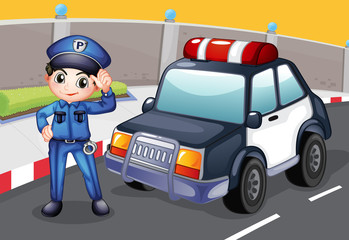 Wall Murals Cars An officer and his patrol car