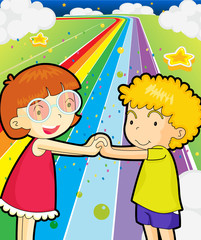 Spoed Fotobehang Regenboog A colorful road with a girl and a boy holding hands