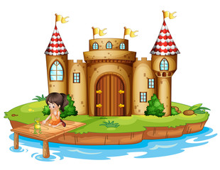 A girl sitting with a frog in front of a castle