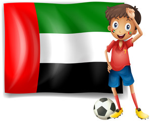 The UAE flag and the male athlete