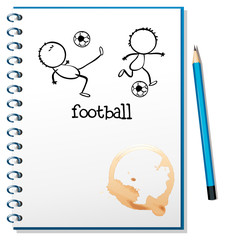 A notebook with a football design