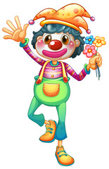 A female clown with three flowers