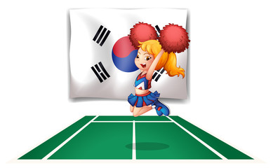 A South Korean flag and the cheerdancer
