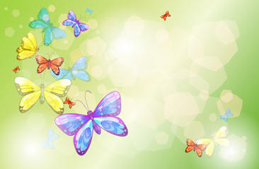Zelfklevend Fotobehang Vlinders A stationery with colorful butterflies