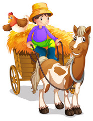 A farmer riding in his wooden cart with a horse and a chicken