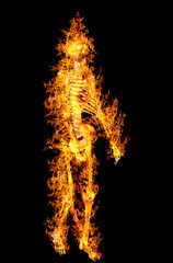 human skeleton in flame on isolated on black