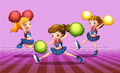 The three energetic cheerdancers