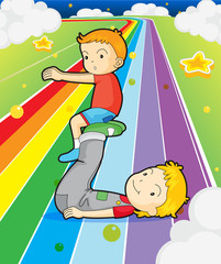 Door stickers Rainbow Two boys playing at the colorful road