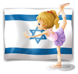 A gymnast in front of the Israel flag