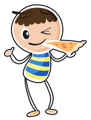 A sketch of a boy eating a pizza