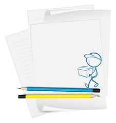 A paper with a sketch of a person holding a box