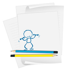 A paper with a sketch of a person exercising